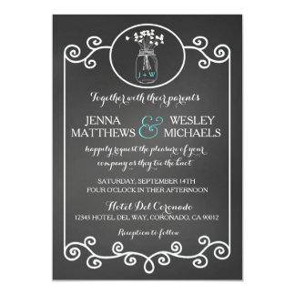 "Chalkboard Wedding Invitation Rustic Mason Jar 5"" X 7"" Invitation Card"