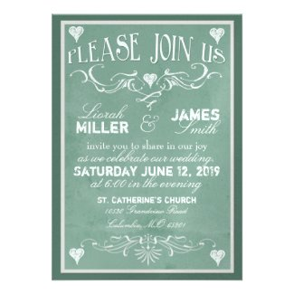 Chalkboard Wedding Invitation with old fashioned