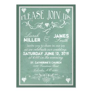 Chalkboard Wedding Invitation with old fashioned