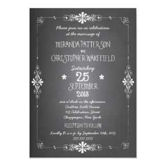 "Chalkboard Wedding Invitation with RSVP 5"" X 7"" Invitation Card"