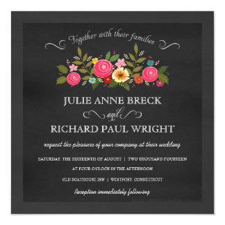 Chalkboard Wedding Invitations - Pink Roses