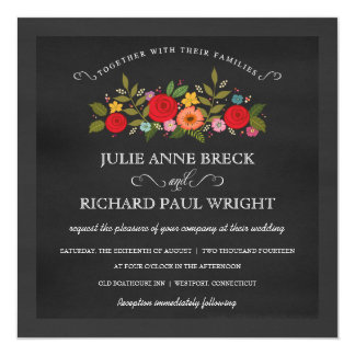 Chalkboard Wedding Invitations - Red Roses