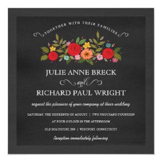 Chalkboard Wedding Invitations - Red Roses