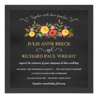 Chalkboard Wedding Invitations - Yellow Roses
