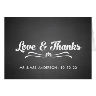 Chalkboard Wedding Love and Thanks Folded Card Greeting Card