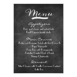 Chalkboard Wedding Menu with Monogram Card