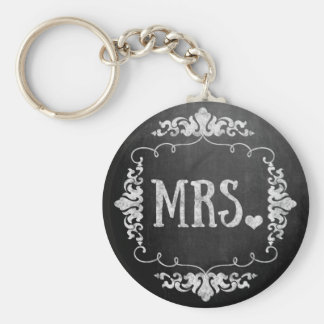 """Chalkboard Wedding """"Mrs."""" Basic Round Button Keychain"""