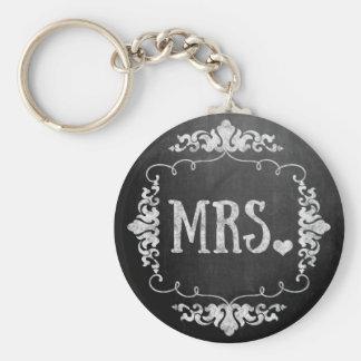 "Chalkboard Wedding ""Mrs."" Keychain"
