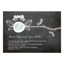 Chalkboard Wedding Owls Woodland Rustic Invite