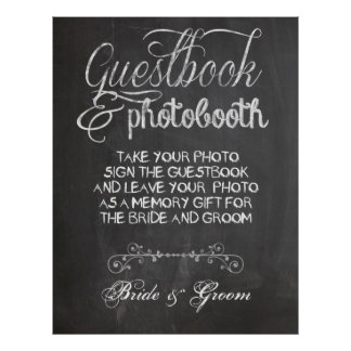 Chalkboard Wedding Photo Booth Poster
