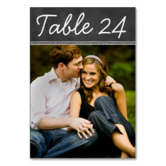 Chalkboard Wedding Photo Table Number Card at Zazzle