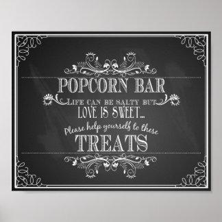 Chalkboard Wedding Popcorn Bar table print