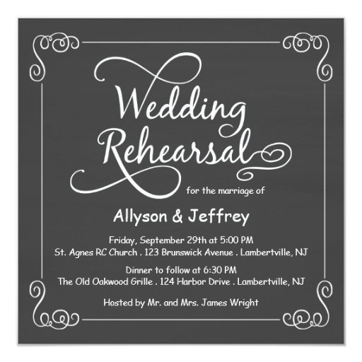 Chalkboard Wedding Rehearsal Dinner Invitations