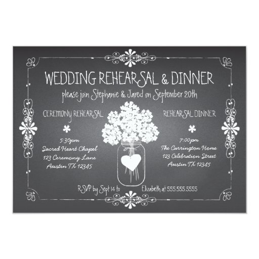 Chalkboard Wedding Rehearsal & Dinner Mason Jar Invitation
