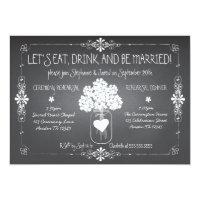 Chalkboard Wedding Rehearsal Mason Jar Invitation