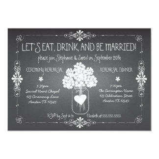 Chalkboard Wedding Rehearsal Mason Jar Invitation