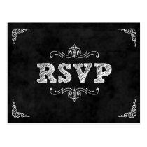 Chalkboard wedding rsvp card / eat drink married