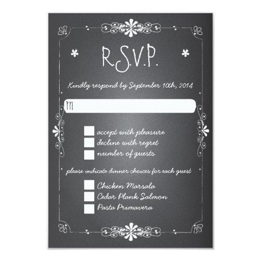 Chalkboard Wedding RSVP Response Card w Dinner Personalized Invitation