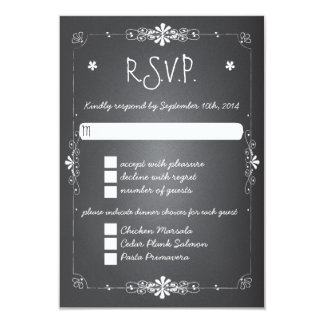 "Chalkboard Wedding RSVP Response Card w Dinner 3.5"" X 5"" Invitation Card"
