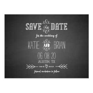 Chalkboard Wedding Save the Date Postcard