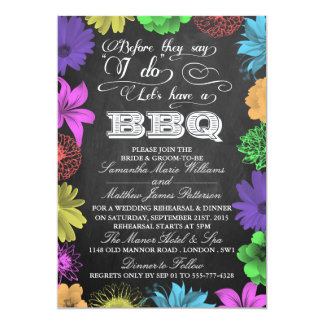 Chalkboard Wedding Shower Rehearsal Barbecue BBQ Card