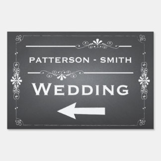 Chalkboard Wedding Sign Left Arrow | Personalized