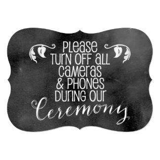 Chalkboard Wedding Sign: No Cameras Card