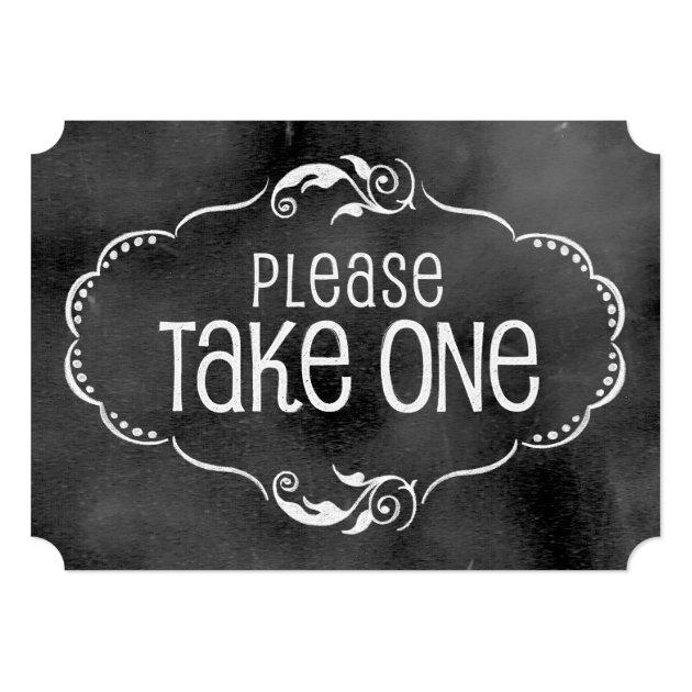 Chalkboard Wedding Sign Please Take One Card Zazzle Com