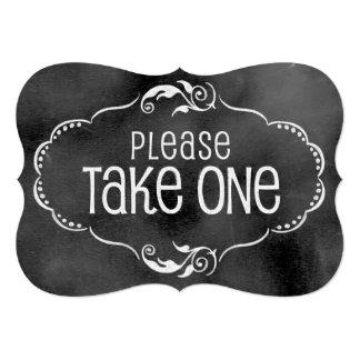 Chalkboard Wedding Sign: Please Take One 5x7 Paper Invitation Card