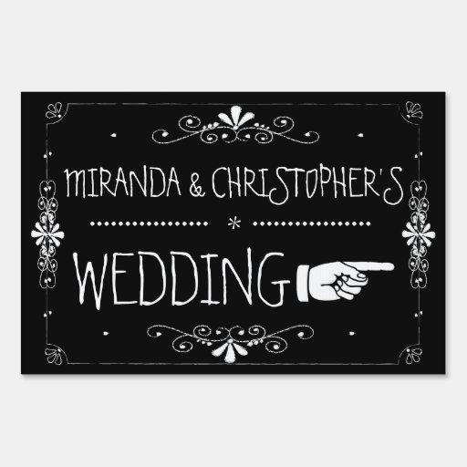 Chalkboard Wedding Sign Right Arrow | Personalized