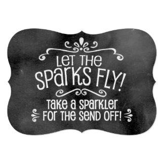 Chalkboard Wedding Sign: Sparkler Send Off 5x7 Paper Invitation Card
