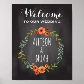Chalkboard Wedding Sign | Watercolor Floral