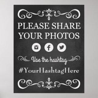 Chalkboard Wedding Social Media Hashtag Sign