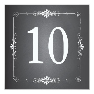"""Chalkboard Wedding Table Number Square Card 5.25"""" Square Invitation Card"""