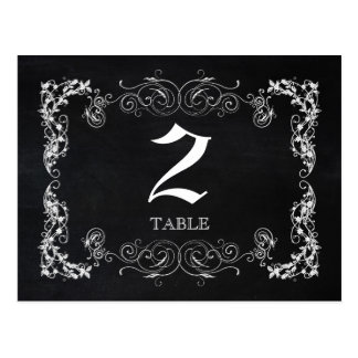Chalkboard Wedding Table Numbers (Double Sided) Postcard