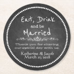 """Chalkboard Wedding Thank You Favor Paper Coaster<br><div class=""""desc"""">Fun vintage inspired chalkboard look typography wedding favor paper coasters,  with a white dotted perimeter and white text reading Eat,  Drink and be Married.  Custom white text,  on the bottom half of the coasters,  is ready to personalize for your wedding.</div>"""