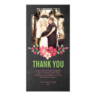 Chalkboard Wedding Thank You Flowers Photo Card