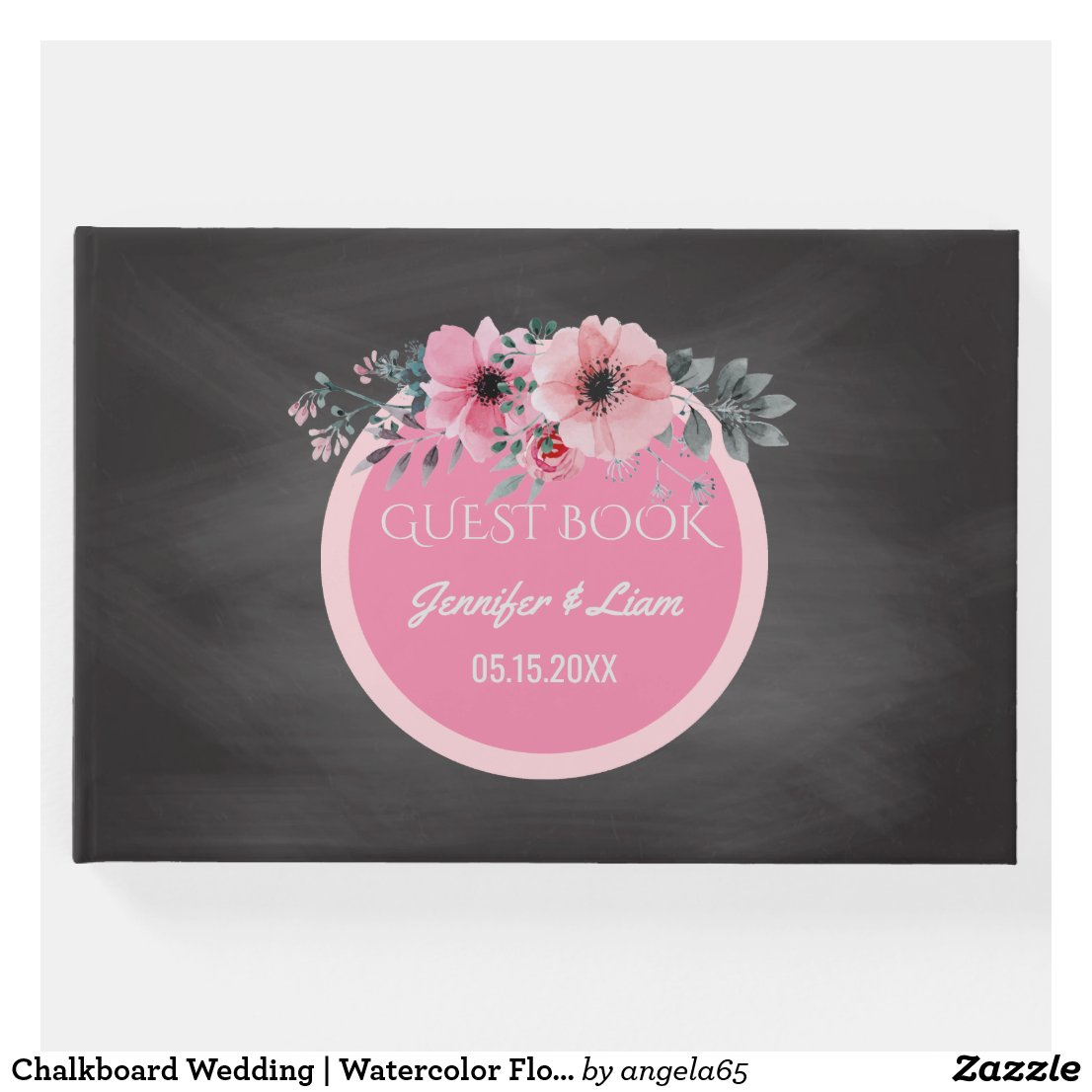 Chalkboard Wedding | Watercolor Floral Monogram Guest Book