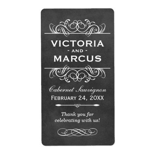 Chalkboard Wedding Wine Bottle Favor Labels