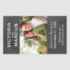 Chalkboard Wedding Wine Bottle Monogram Favor Rectangular Sticker