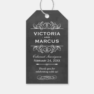 Chalkboard Wedding Wine Bottle Monogram Favor Tags
