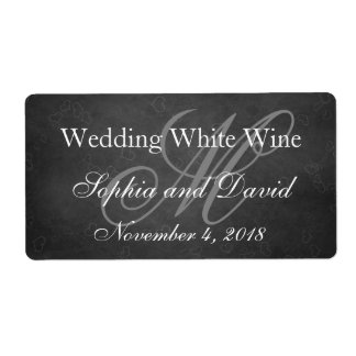 Chalkboard Wedding Wine Label Monogram Initial