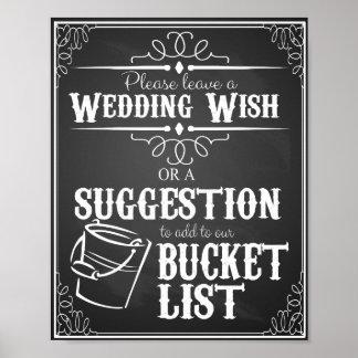 Chalkboard wedding wishing well bucket list print