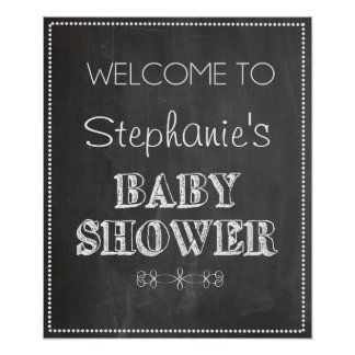Chalkboard Welcome Baby Shower Sign Poster