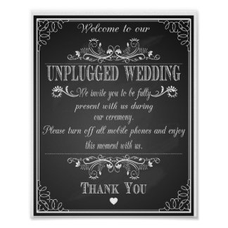 Chalkboard Welcome to our Unplugged wedding print