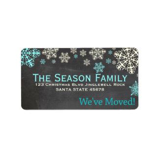 """chalkboard """"we've moved"""" Christmas label"""