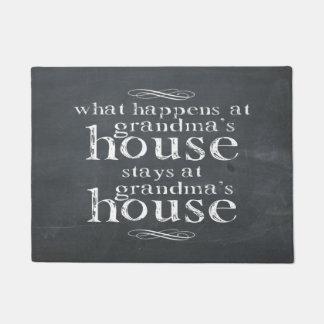 Chalkboard What Happens At Grandma's House Doormat