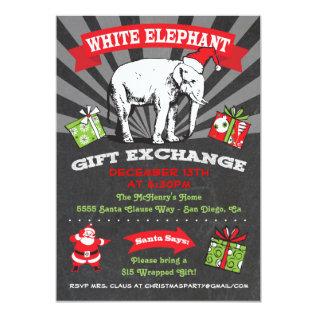 Chalkboard White Elephant Gift Exchange Inviation Card at Zazzle