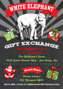 White Elephant Exchange Invitations Zazzle