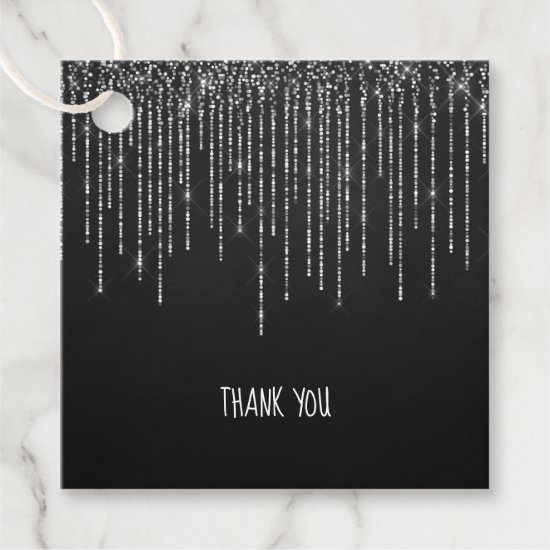 Chalkboard White Fairy Lights Wedding Thank You Favor Tags